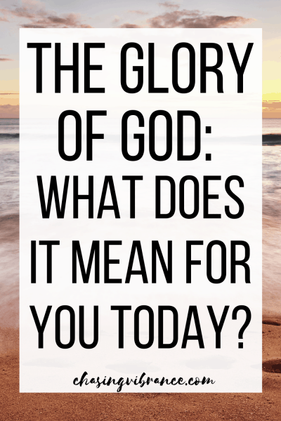 the glory of god text overlay of sunset and beach