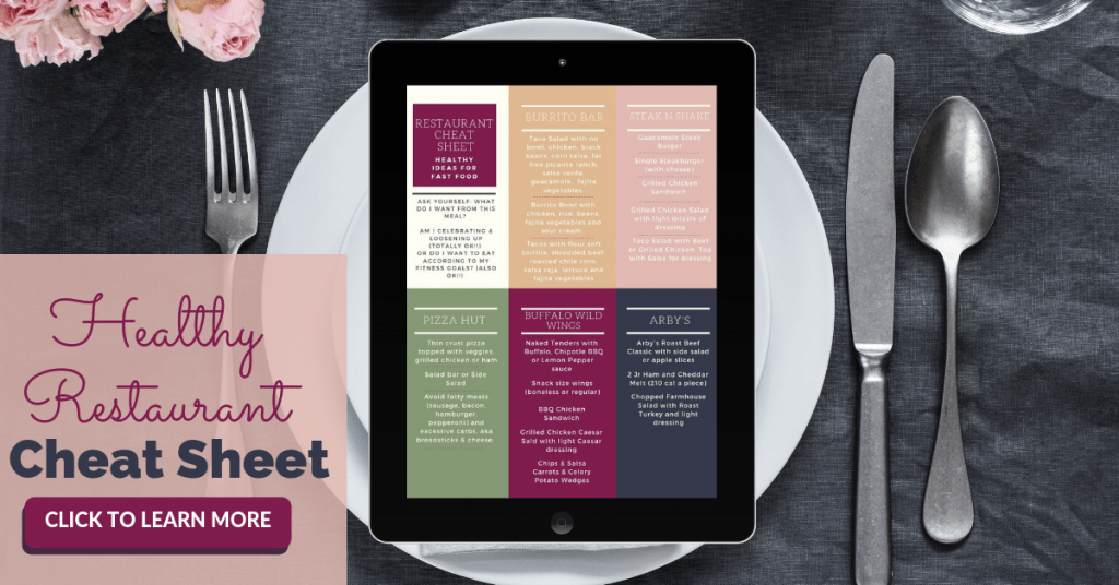 Healthy Restaurant Cheat Sheet on ipad on top of white plate against a gray background