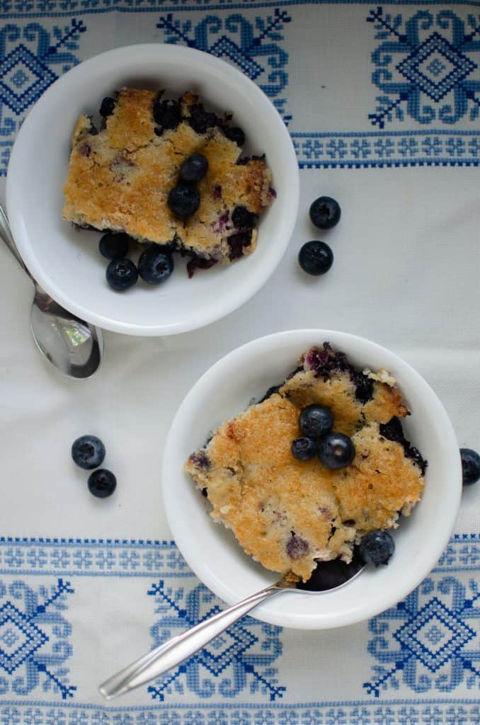 two bowls of blueberry cobbler