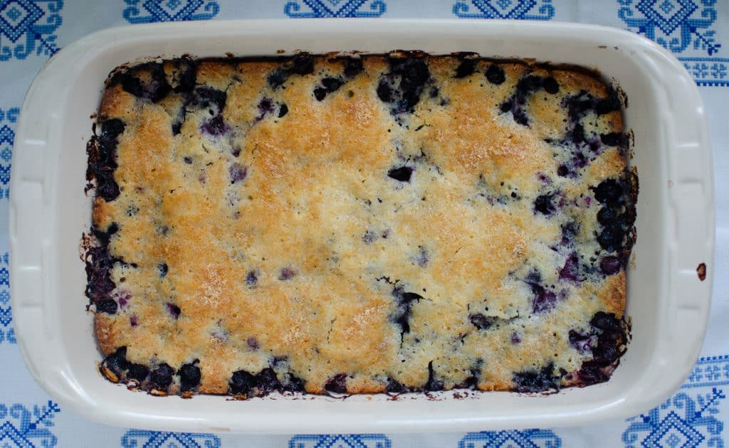 blueberry cobbler in baking dish