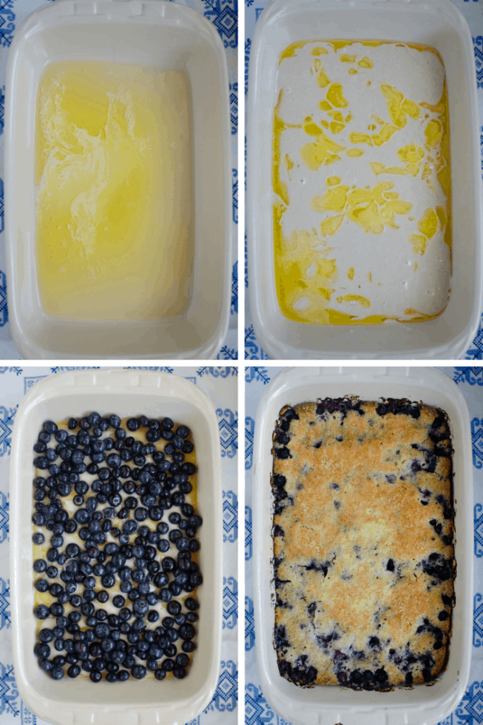 collage of how to make blueberry cobbler