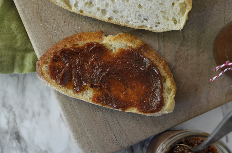 Pear butter spread across sourdough bread