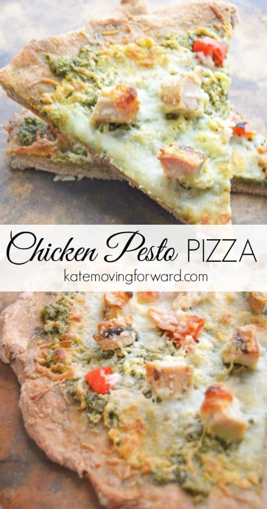Chicken Pesto Pizza - A delicious whole wheat pizza crust topped with pesto, garlic, chicken, onion, and red pepper! So-so good!