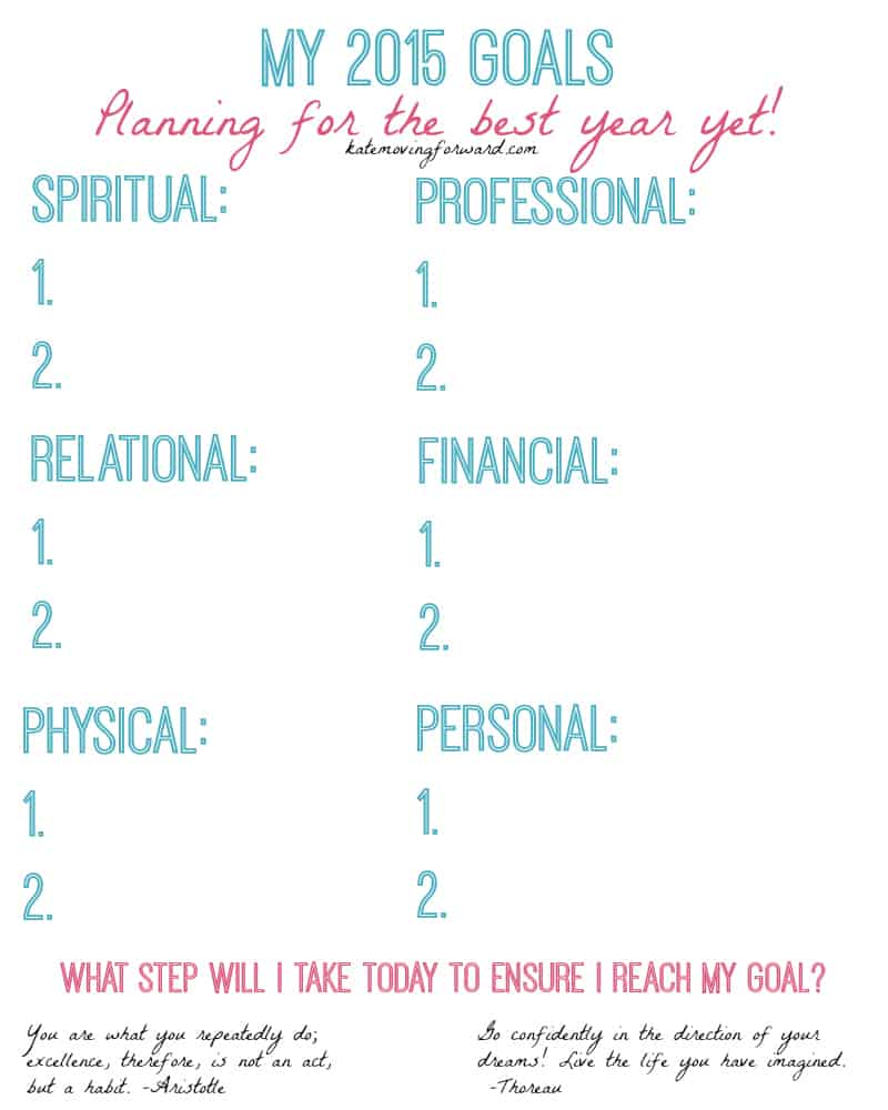 2015 Goal Worksheet