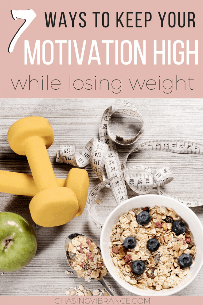 weights, oatmeal and tape on white background with how to stay motivated when losing weight