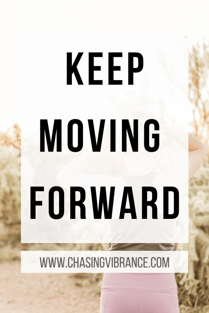 keep moving forward text over woman starting to run