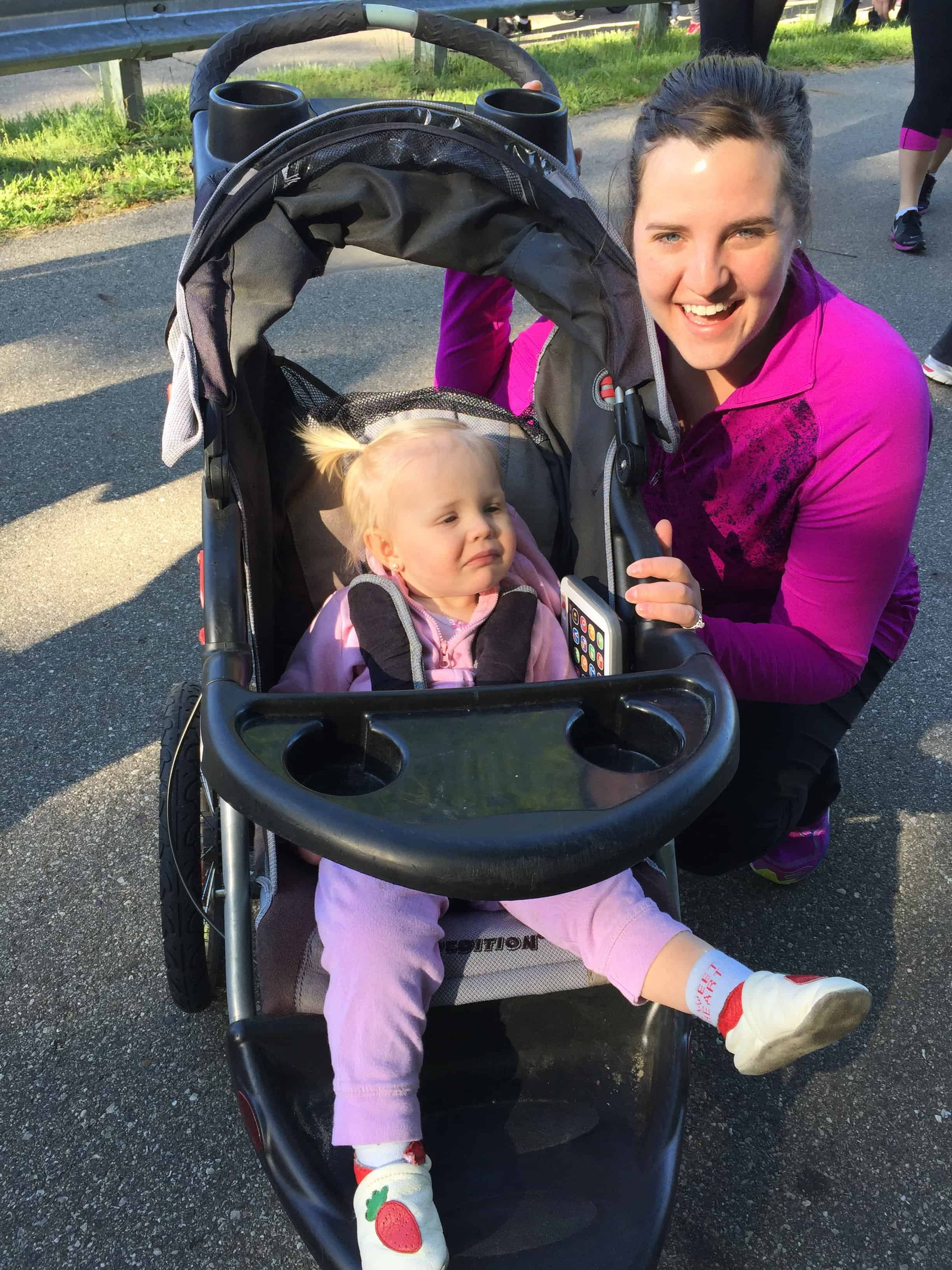 mother daughter running