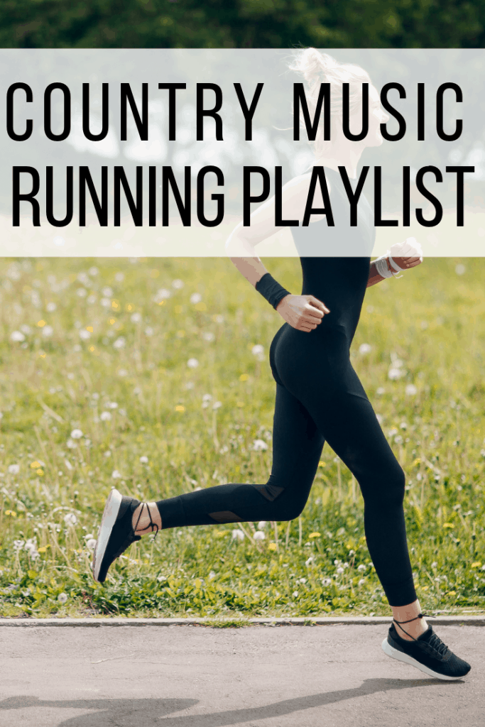 Country Workout songs text overlay with women in black running on path