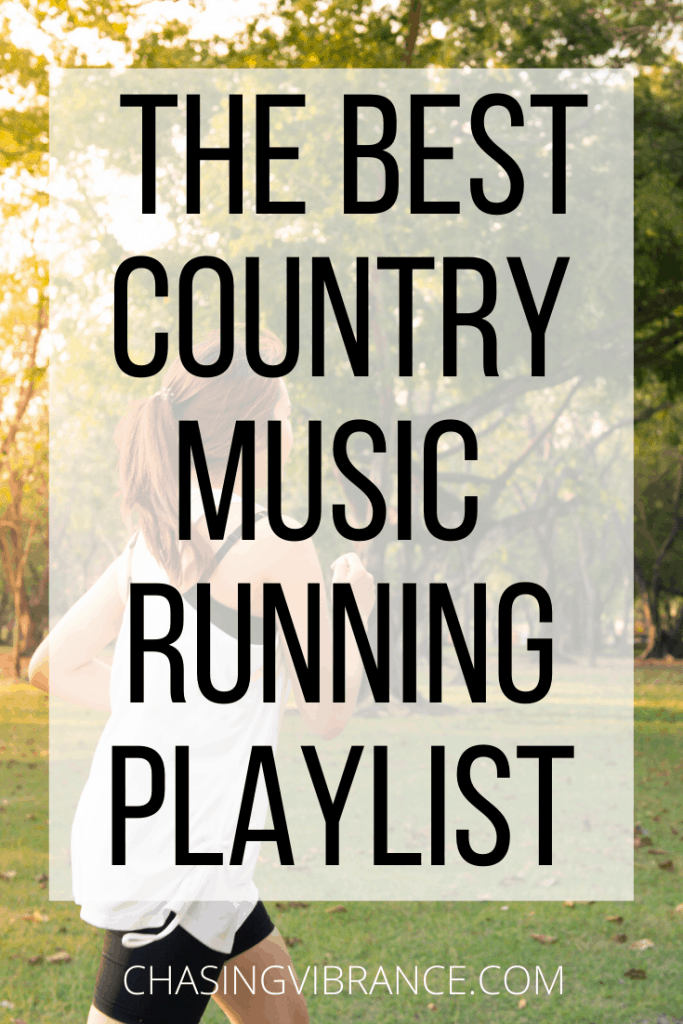 "woman running large text overlay ""the best country music running playlist"""