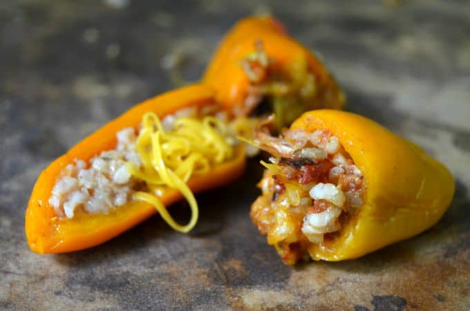 Mini bell peppers with chicken