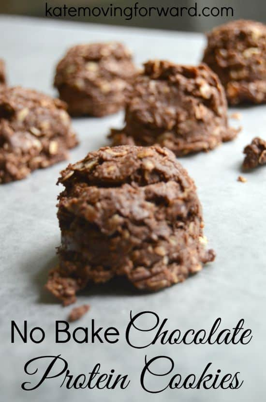 Close up of No Bake Chocolate Protein Cookies