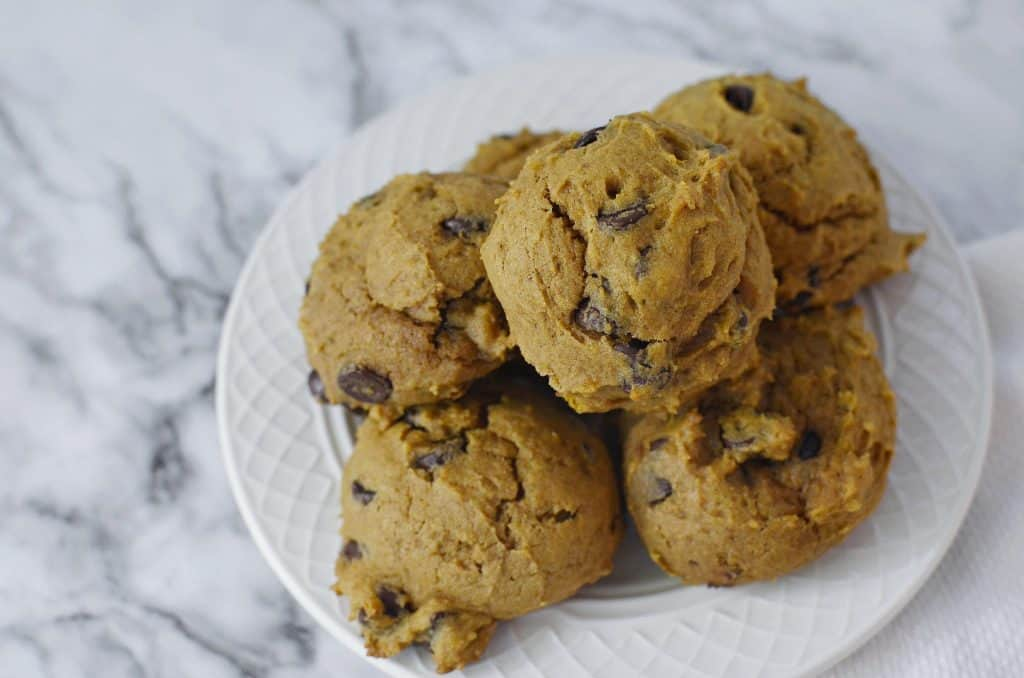 Pumpkin Chocolate chip cookies on marble counter
