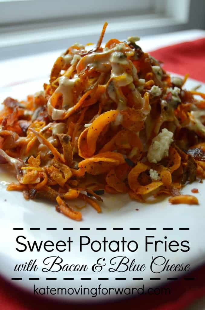 Sweet Potato Fries with Bacon and Blue Cheese