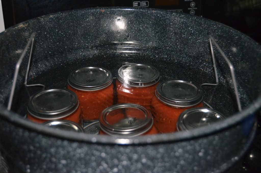canning jars in hot water bath