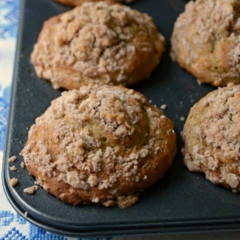 Banana Applesauce Muffins with crumb topping--great way to use old bananas