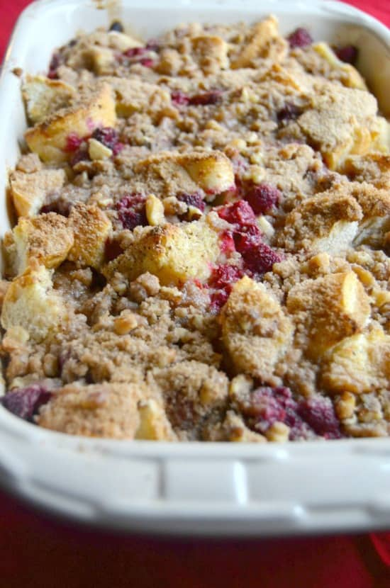 Raspberry Walnut French Toast Casserole