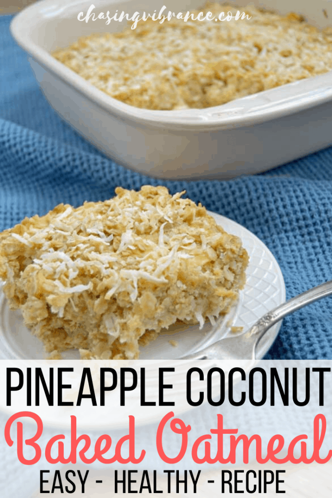 Pineapple coconut baked oatmeal on a small plate with blue cloth background