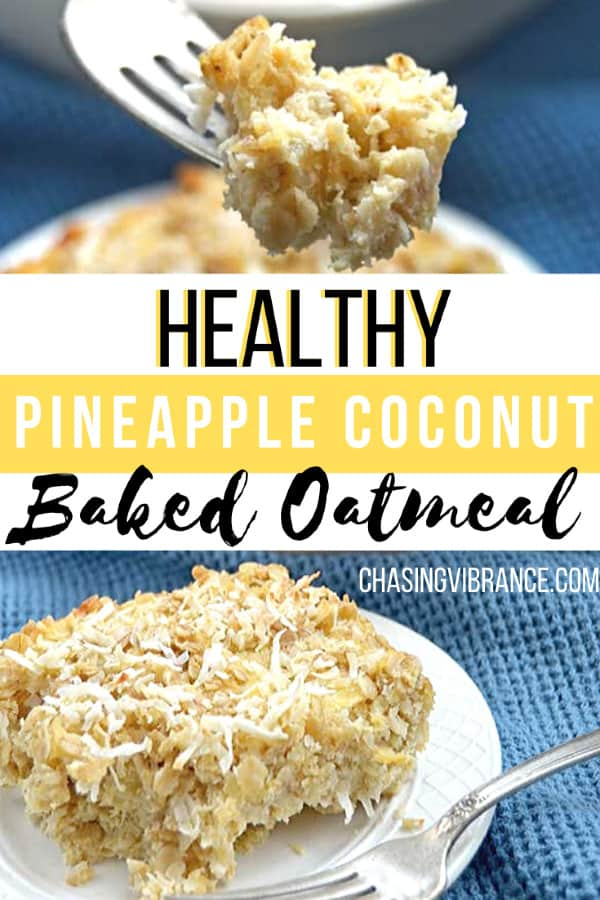 Bite of pineapple coconut baked oatmeal on fork with collage