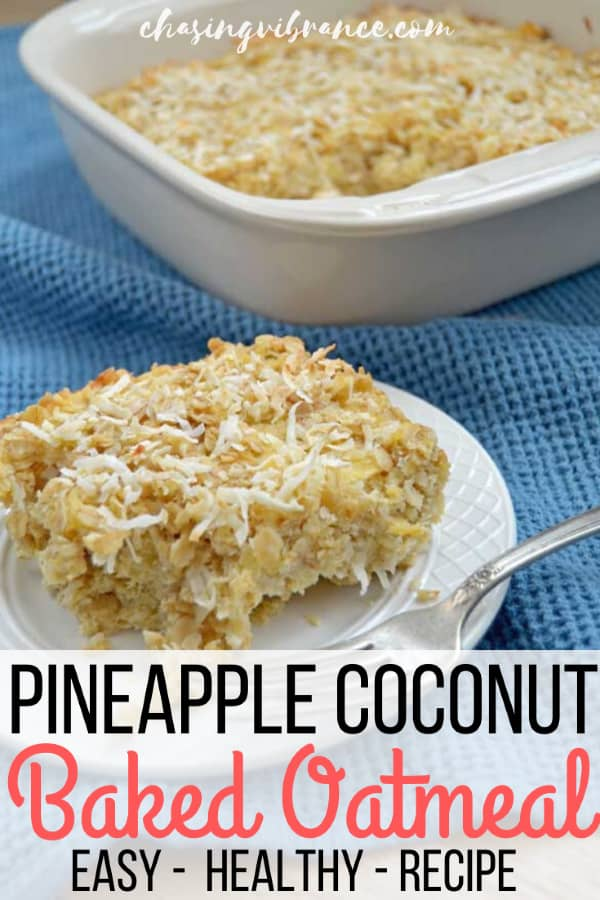 Pineapple coconut baked oatmeal recipe slice on white plate with fork