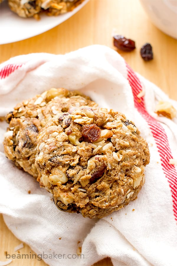 Get the perfect start to your morning with Cinnamon Walnut Raisin Breakfast Cookies: an easy recipe for energy cookies packed full of raisins, walnuts, peanut butter and oats. Vegan and Gluten Free.