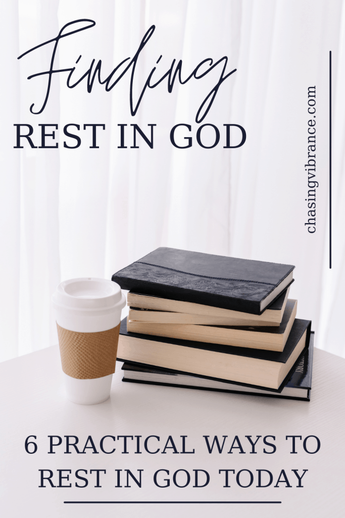 Finding rest in God text overlay on picture of stack of books and a cup of coffee on white table