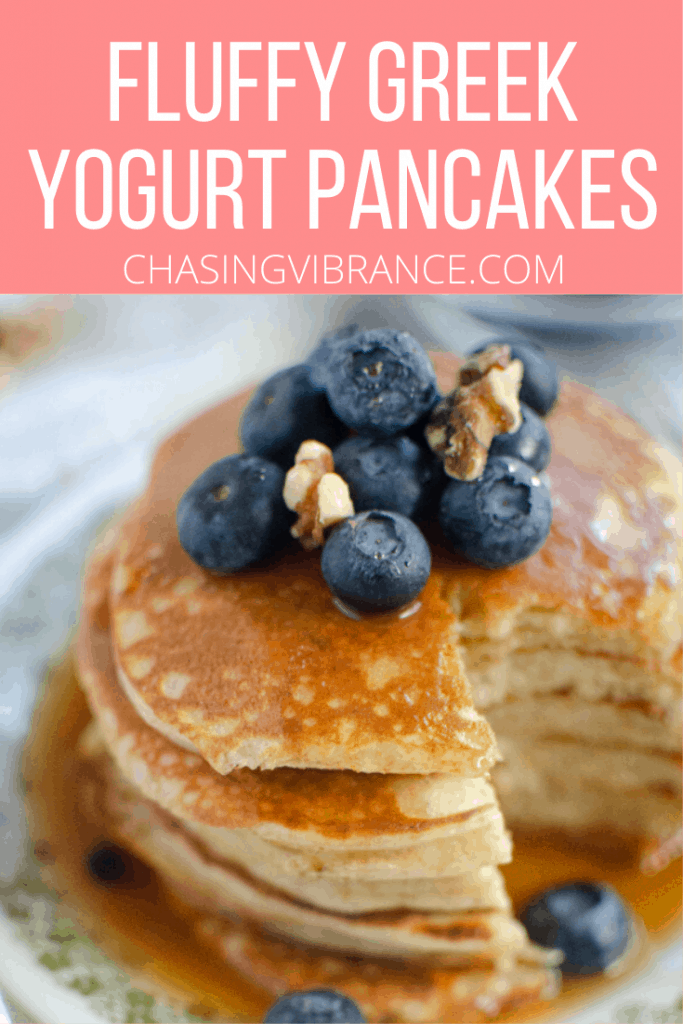 Pinterest pin text overlay with pancakes
