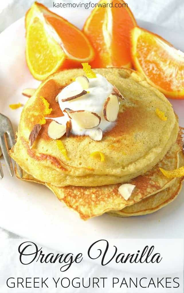Orange Vanilla Greek Yogurt Pancakes - These delicious Orange Vanilla Greek Yogurt Pancakes are light & fluffy, plus packed with protein! The recipe is quick & easy for a busy morning breakfast!
