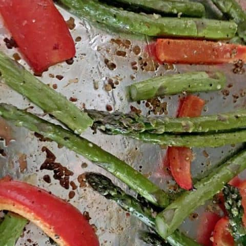 Garlic Roasted Asparagus and Red Pepper