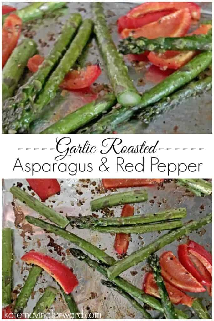 Garlic Roasted Asparagus and Red Pepper - An easy, healthy side dish, perfect for summer grilling! Roasted veggies are SO flavorful! YUM!!