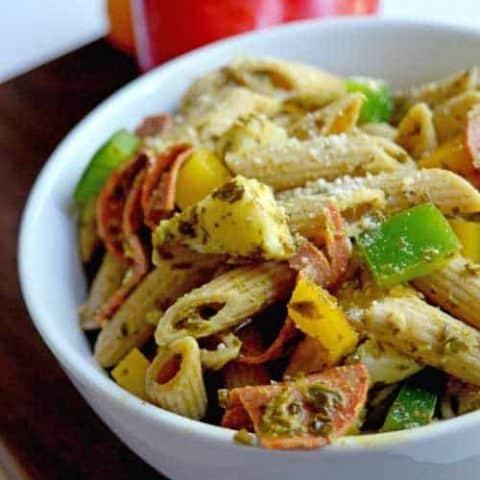 Pepperoni and Pesto Pasta Salad
