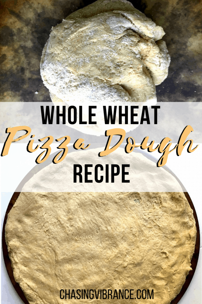 Collage of whole wheat pizza dough recipe with text overlay