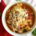 white bowl filled with crockpot lasagna soup