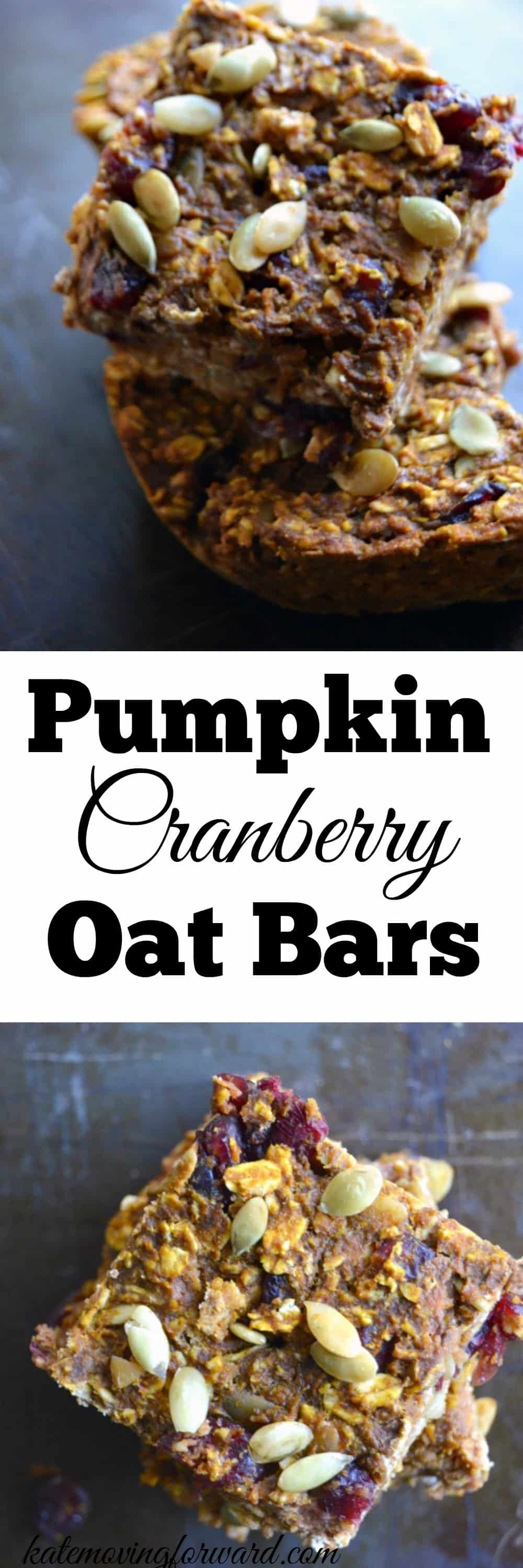 These Cranberry Pumpkin Oat Bars are the perfect healthy fall snack! They are full of healthy oats, fiber, delicious pumpkin and sweet cranberries and are so satisfying.