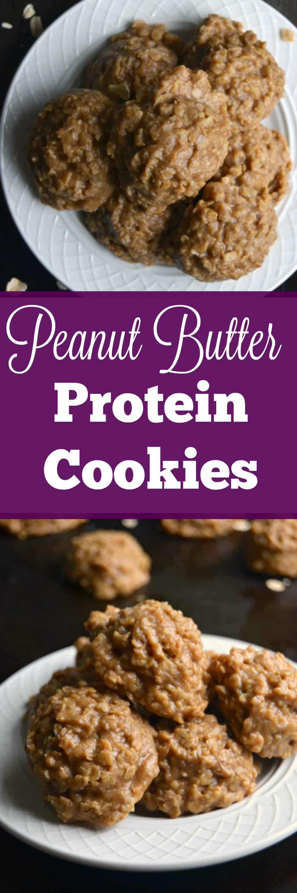 Easy and delicious these No Bake Peanut Butter Protein Cookies are perfect for a healthy snack or sweet treat!