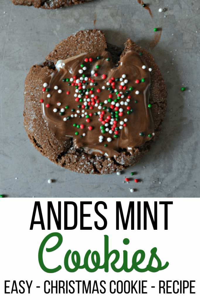 Andes Mint Cookie is a choclate cookies with Andes mint and topped with sprikles