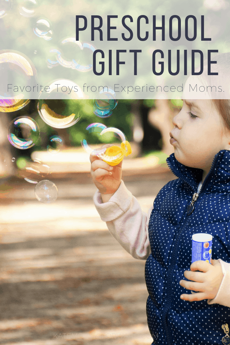 Preschool Gift Guide - text with picture of child blowing bubbles