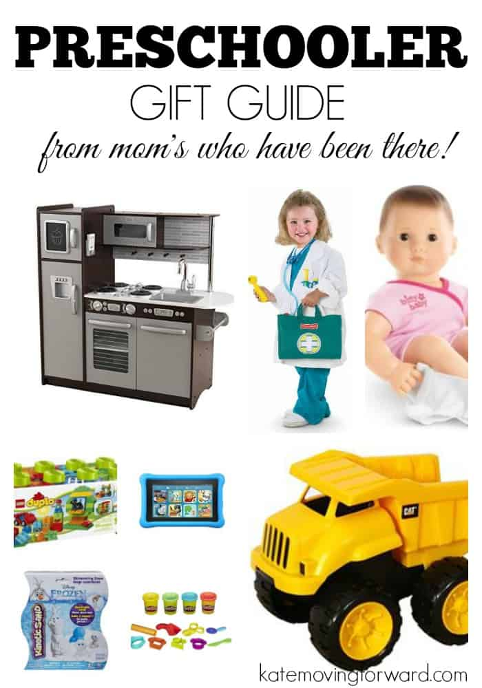 Gift ideas for preschoolers! with collage of children's toys: dump truck, kitchen dress up, baby doll