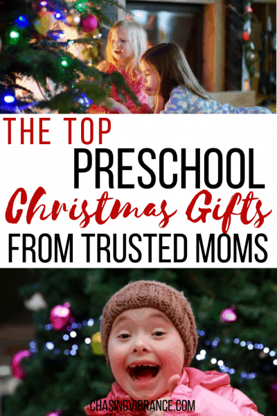 The TOP Preschool Christmas Gifts from Trusted Moms with pictures of kids at Christmas under Christmas trees