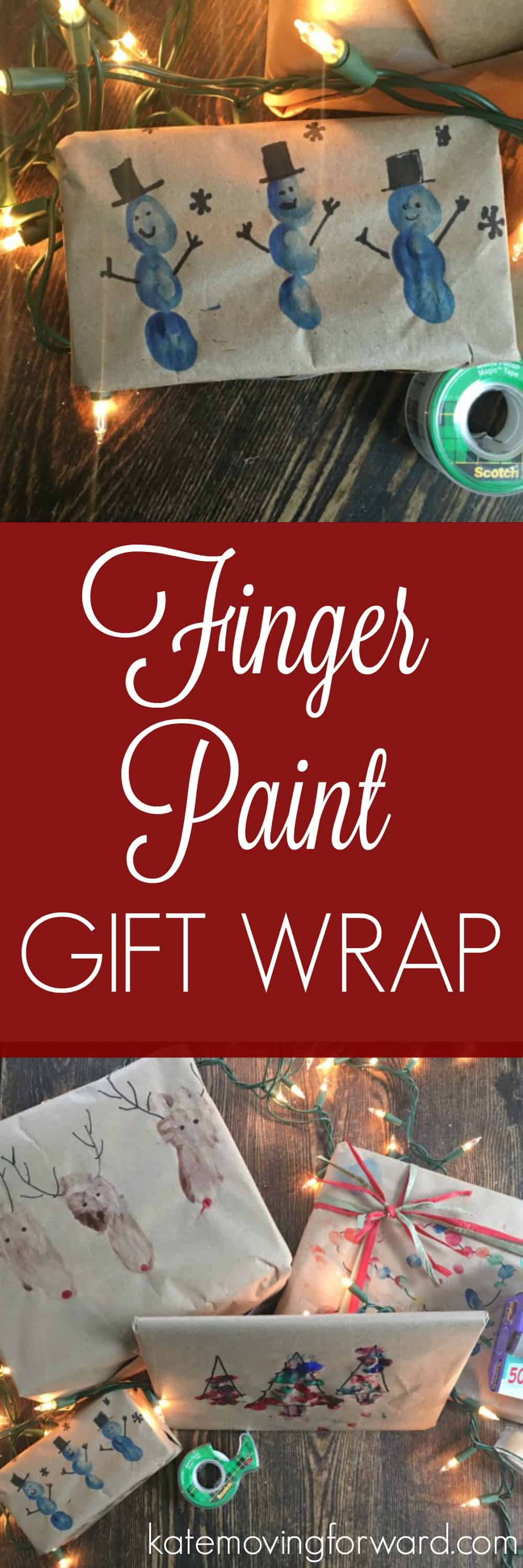 Finger Paint Gift Wrap - Need a creative gift wrapping idea? I love this easy craft you can do with your kids that also doubles as keepsake gift wrapping!
