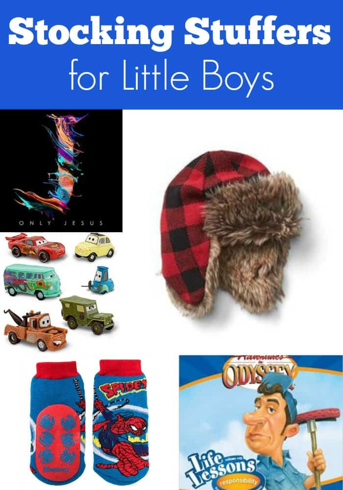 stocking stuffers for little boys with collage of toy cars, cd, trapper hat, fun socks