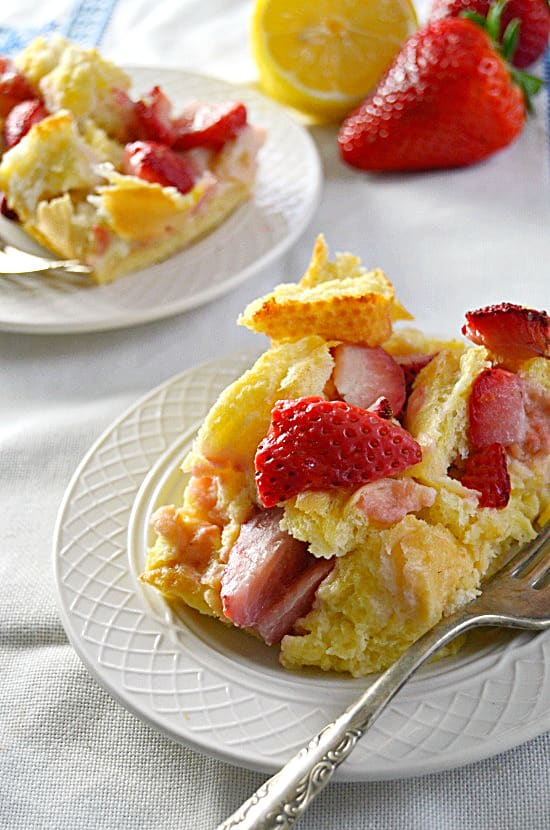 single serving of french toast bake with strawberries and lemons