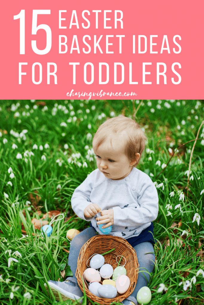 Toddler with basket of easter eggs on bright green grass with text overlay 15 Easter basket ideas for toddlers