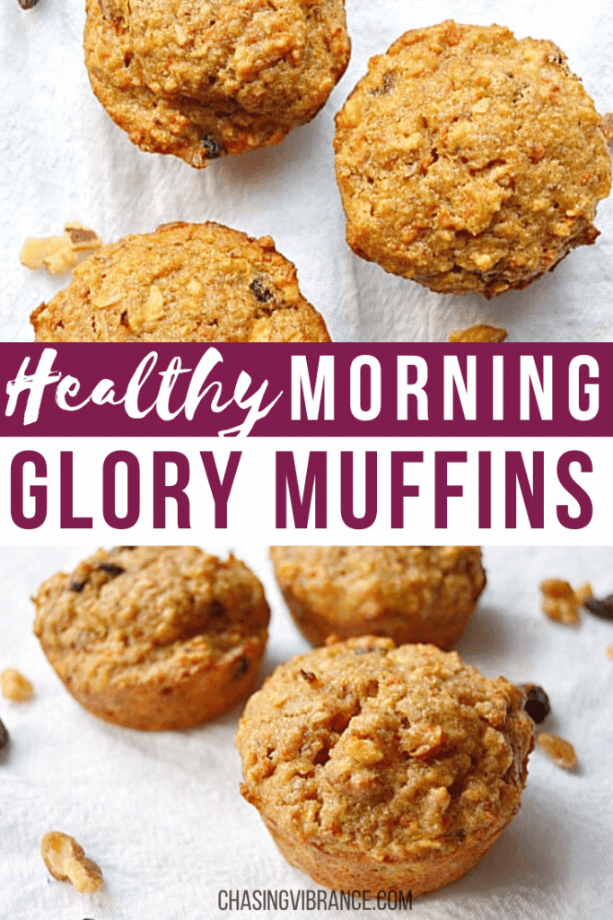 Healthy morning glory muffins collage pin