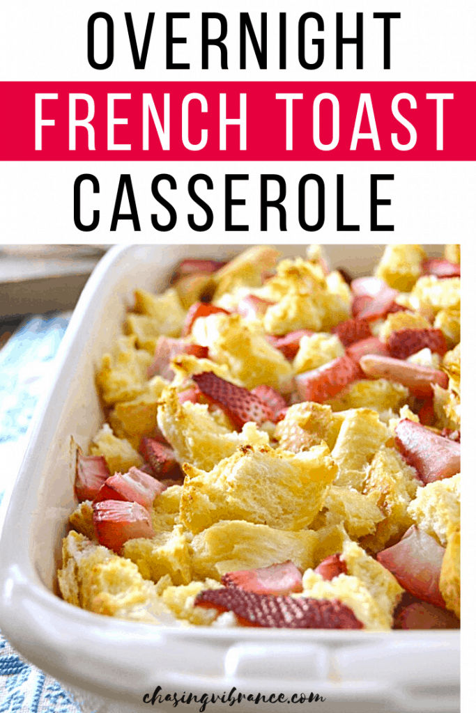 Pinterest pin with pan of overnight french toast casserole