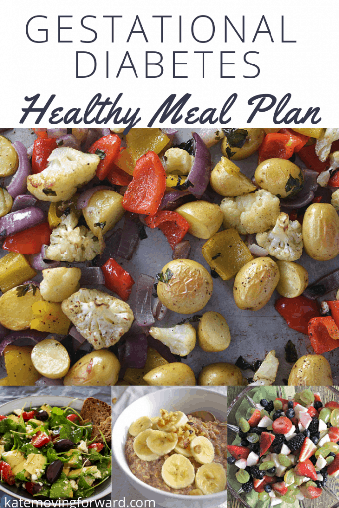 Gestational Diabetes Meal Plan Ideas across top with pictures of healthy fruits and vegetables