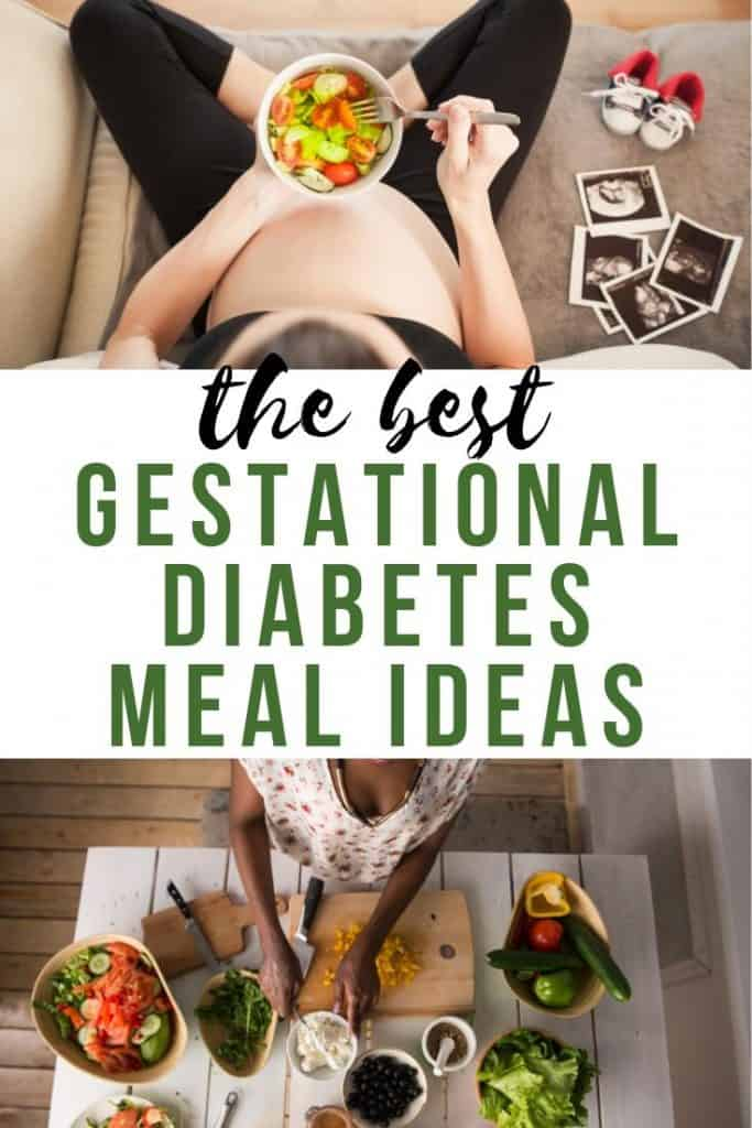 Gestational Diabetes diet meal ideas with pictures of pregnant women eating salads