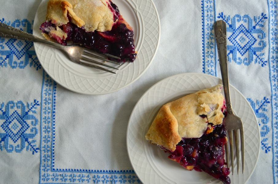Rustic Peach Blueberry Tart