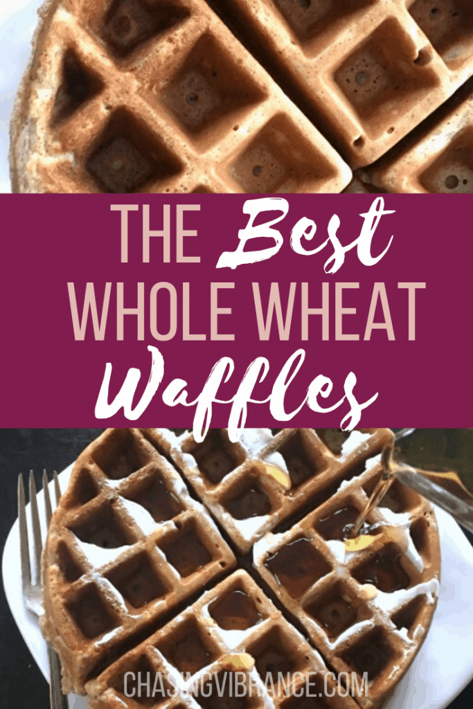 Collage of waffles with The Best Whole What Waffles in text in center
