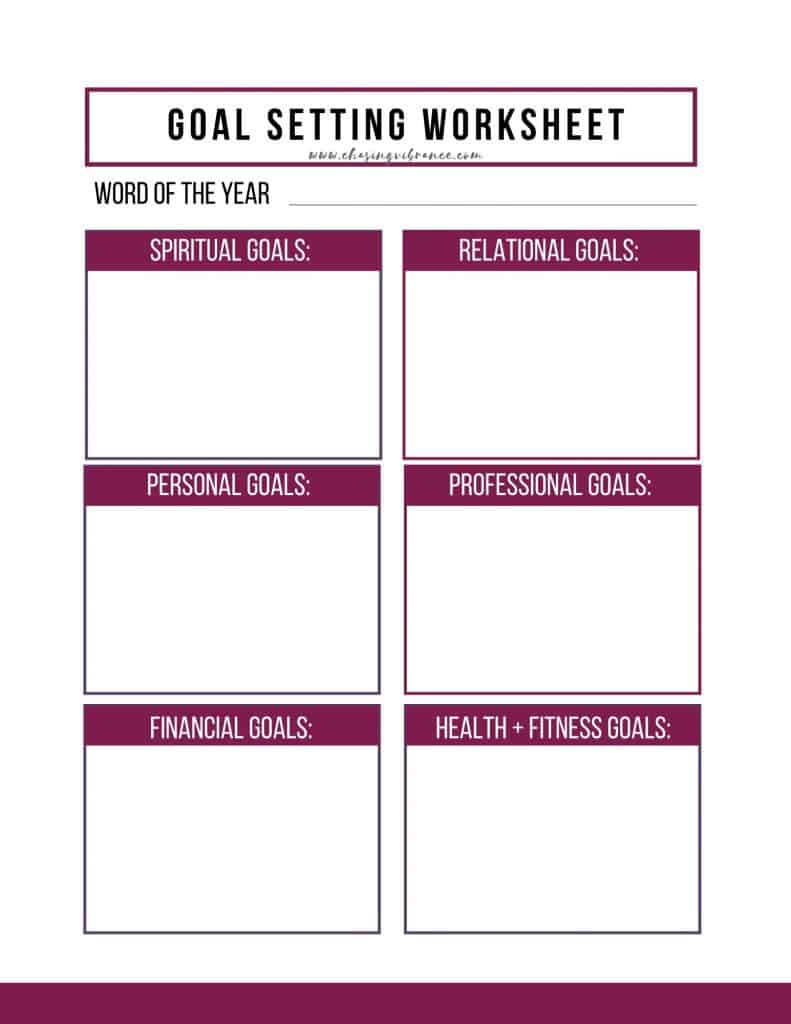 Goal Planning Template Word from chasingvibrance.com