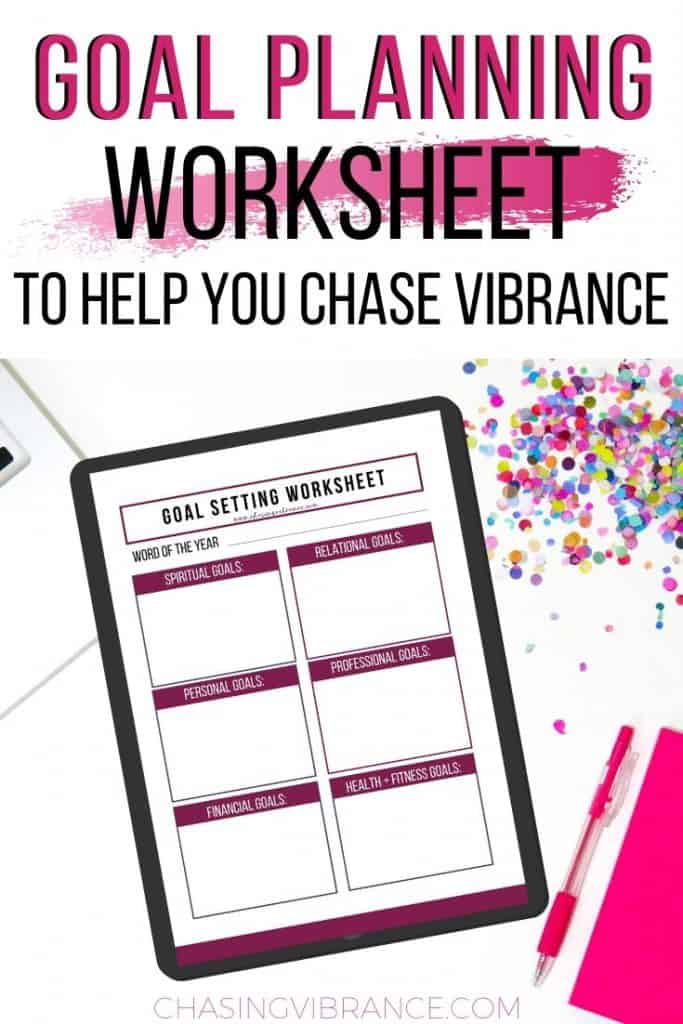 Goal planning worksheet on ipad with confetti and pink notebook